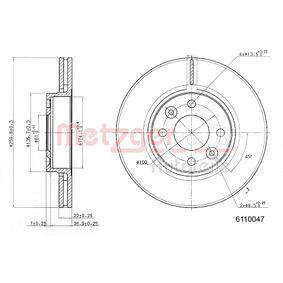 Bremsscheibe Bremsscheibendicke: 22mm, Lochanzahl: 4, Ø: 259,5mm mit OEM-Nummer 40206-AX600-