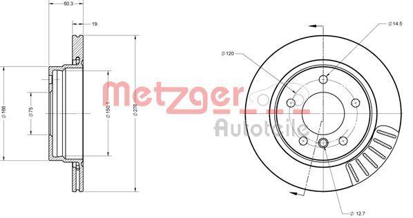 Bremsscheiben 6110065 METZGER 6110065 in Original Qualität