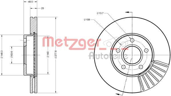Bremsscheiben 6110070 METZGER 6110070 in Original Qualität