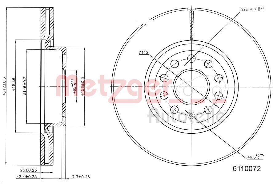 Bremsscheiben 6110072 METZGER 6110072 in Original Qualität