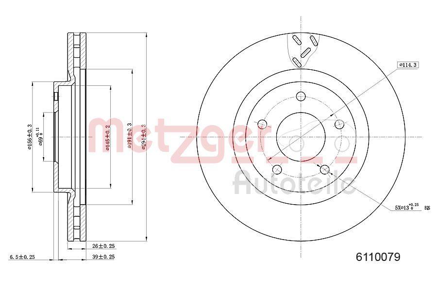 Bremsscheiben 6110079 METZGER 6110079 in Original Qualität