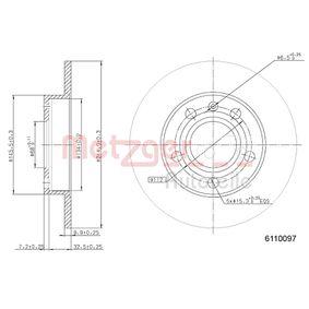 METZGER Bremsscheibe 6110097 für AUDI A4 Cabriolet (8H7, B6, 8HE, B7) 3.2 FSI ab Baujahr 01.2006, 255 PS