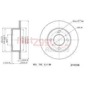 METZGER Bremsscheibe 6110106 für AUDI 100 (44, 44Q, C3) 1.8 ab Baujahr 02.1986, 88 PS