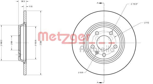 Bremsscheiben 6110125 METZGER 6110125 in Original Qualität