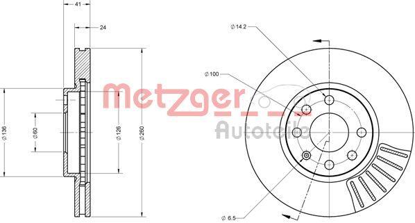 Bremsscheiben 6110145 METZGER 6110145 in Original Qualität