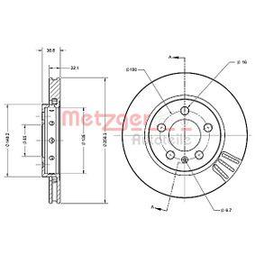 Bremsscheibe Bremsscheibendicke: 22mm, Ø: 256,1mm mit OEM-Nummer 8L0615601