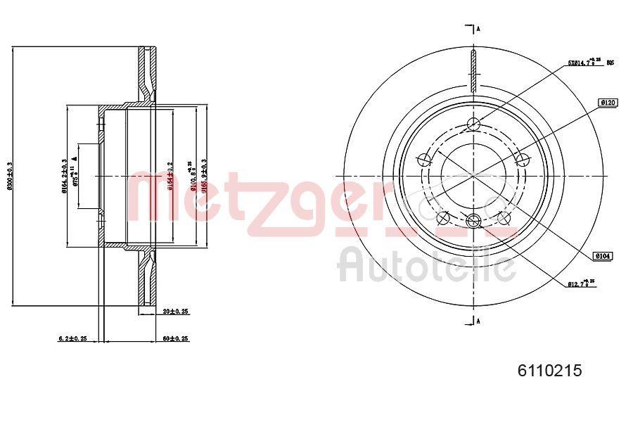 Bremsscheiben 6110215 METZGER 6110215 in Original Qualität