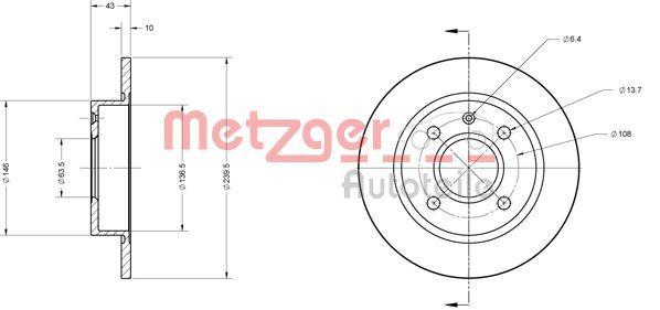 Brake Discs 6110243 METZGER EBT101 original quality