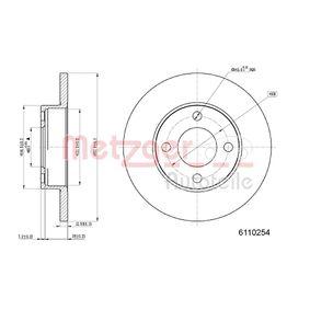 METZGER Bremsscheibe 6110254 für AUDI 100 (44, 44Q, C3) 1.8 ab Baujahr 02.1986, 88 PS
