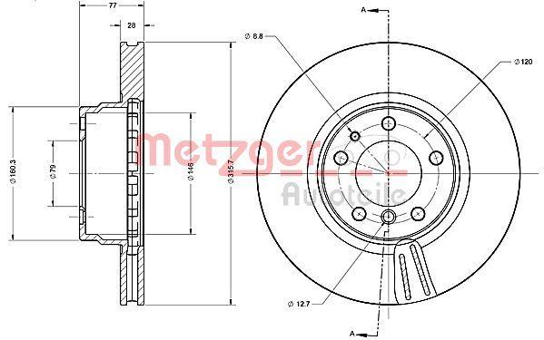 Bremsscheiben 6110383 METZGER 6110383 in Original Qualität