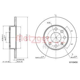 Bremsscheiben für OPEL CORSA C (F08, F68) 1.2 75 PS ab Baujahr 09.2000 METZGER Bremsscheibe (6110450) für