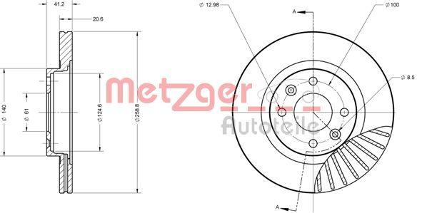 Bremsscheiben 6110551 METZGER 6110551 in Original Qualität