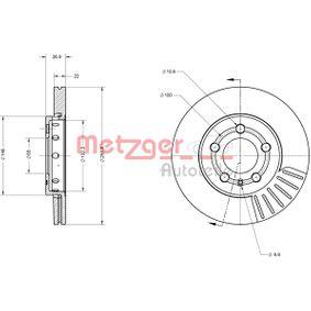 Brake Disc Brake Disc Thickness: 22mm, Num. of holes: 5, Ø: 255,8mm with OEM Number 8Z0 615 301 D