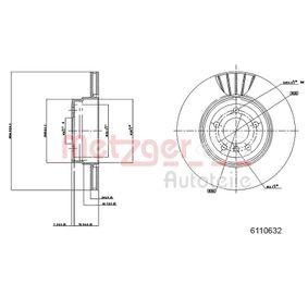 Discos de Freno BMW X5 (E70) 3.0 d de Año 02.2007 235 CV: Disco de freno (6110632) para de METZGER
