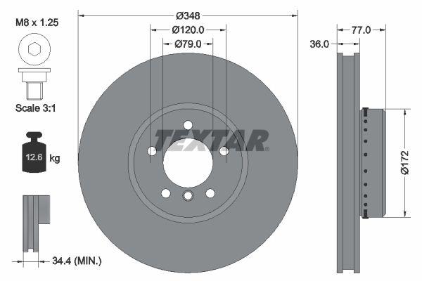 TEXTAR PRO+ 92182425 Bremsscheibe Bremsscheibendicke: 36,0mm, Ø: 348mm