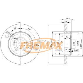 Bremsscheibe Bremsscheibendicke: 24mm, Ø: 345mm mit OEM-Nummer 34216763827