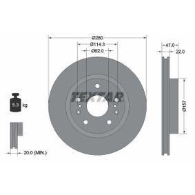 TEXTAR PRO 92268303 Bremsscheibe Bremsscheibendicke: 22,0mm, Ø: 280mm