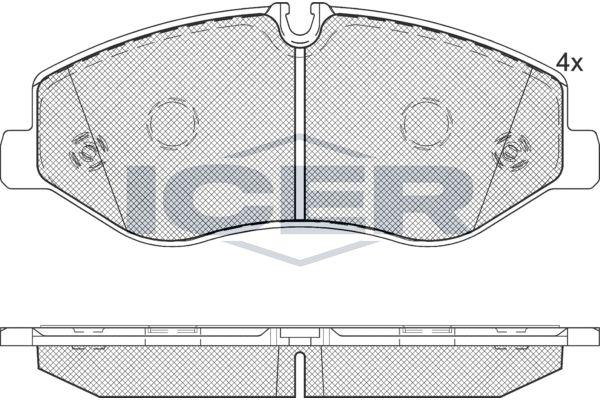 ICER  142191 Bremsbelagsatz, Scheibenbremse Höhe: 74,9mm, Dicke/Stärke: 21mm
