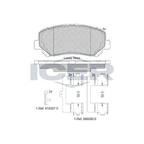 Bremsbelagsatz, Scheibenbremse Höhe: 61mm, Dicke/Stärke: 20,5mm mit OEM-Nummer 68225170AA