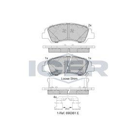 Bremsbelagsatz, Scheibenbremse Höhe: 50,5mm, Dicke/Stärke: 16mm mit OEM-Nummer 58101B4A00