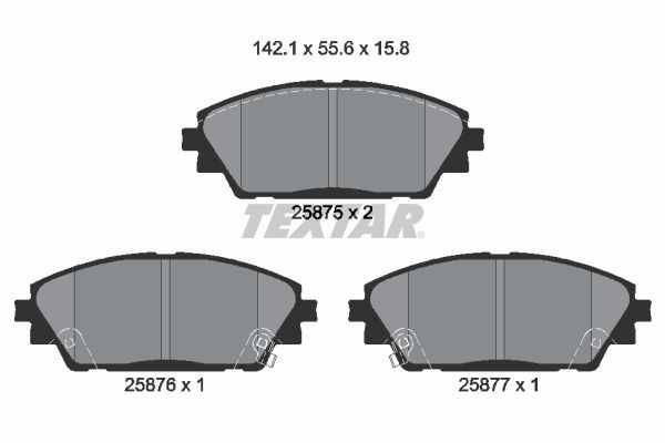 TEXTAR  2587501 Brake Pad Set, disc brake Width: 142,1mm, Height: 55,6mm, Thickness: 15,8mm