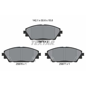 Brake Pad Set, disc brake Width: 142,1mm, Height: 55,6mm, Thickness: 15,8mm with OEM Number BHY1-33-28ZA9C
