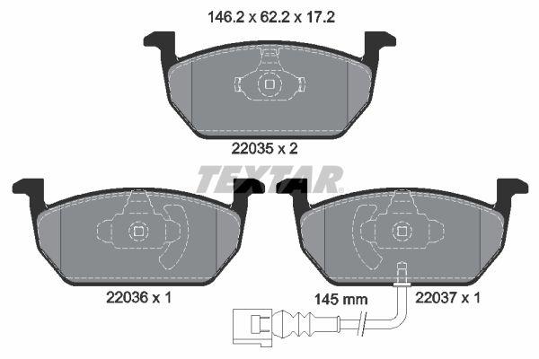 TEXTAR  2203501 Bremsbelagsatz, Scheibenbremse Breite: 146,2mm, Höhe: 62,2mm, Dicke/Stärke: 17,2mm