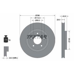 Disco freno (92167403) per per Cuscinetto Ruota NISSAN QASHQAI / QASHQAI +2 (J10, JJ10) 2.0 Trazione integrale dal Anno 02.2007 139 CV di TEXTAR
