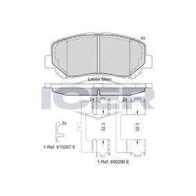 Bremsbelagsatz, Scheibenbremse Höhe: 61mm, Dicke/Stärke: 15,8mm mit OEM-Nummer 25564 ICER