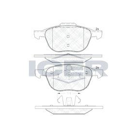 Bremsbelagsatz, Scheibenbremse Breite 2: 156,3mm, Breite: 155,1mm, Höhe 2: 67,0mm, Höhe: 62,3mm, Dicke/Stärke: 18,4mm mit OEM-Nummer MECV-6J2K021-AA