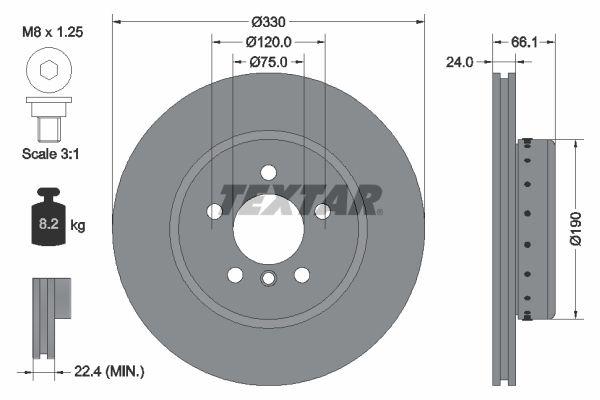 TEXTAR PRO+ 92265825 Brake Disc Brake Disc Thickness: 24mm, Ø: 330mm