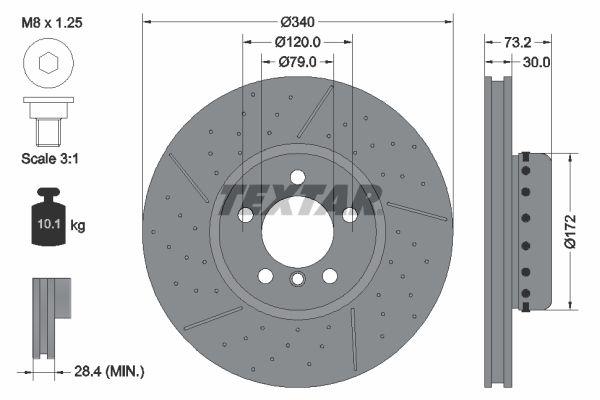 TEXTAR PRO+ 92265025 Brake Disc Brake Disc Thickness: 30mm, Ø: 340mm