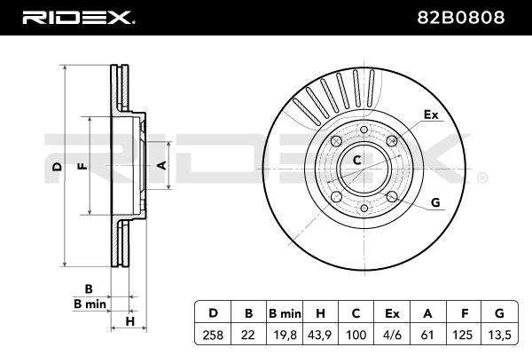 Disc Brakes RIDEX 82B0808 4059191131419