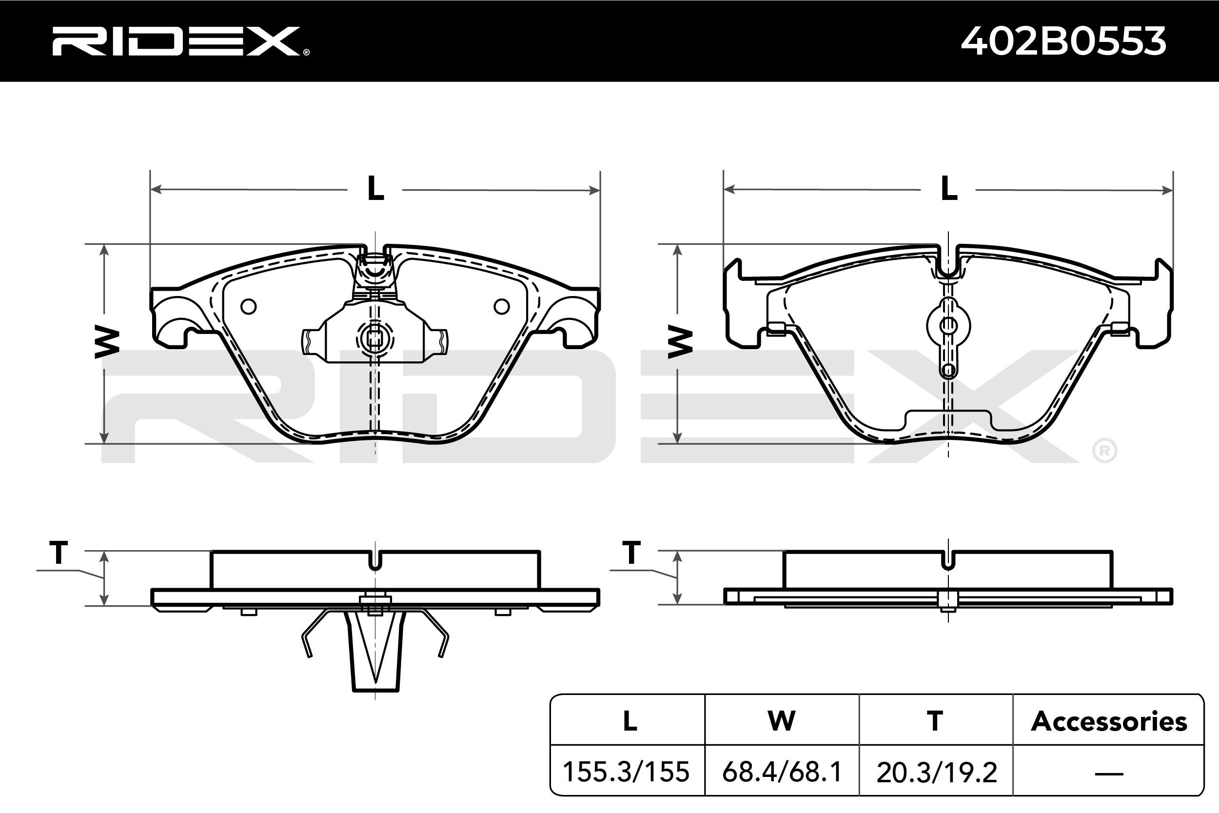 Bremsklötze RIDEX 402B0553 4059191141500