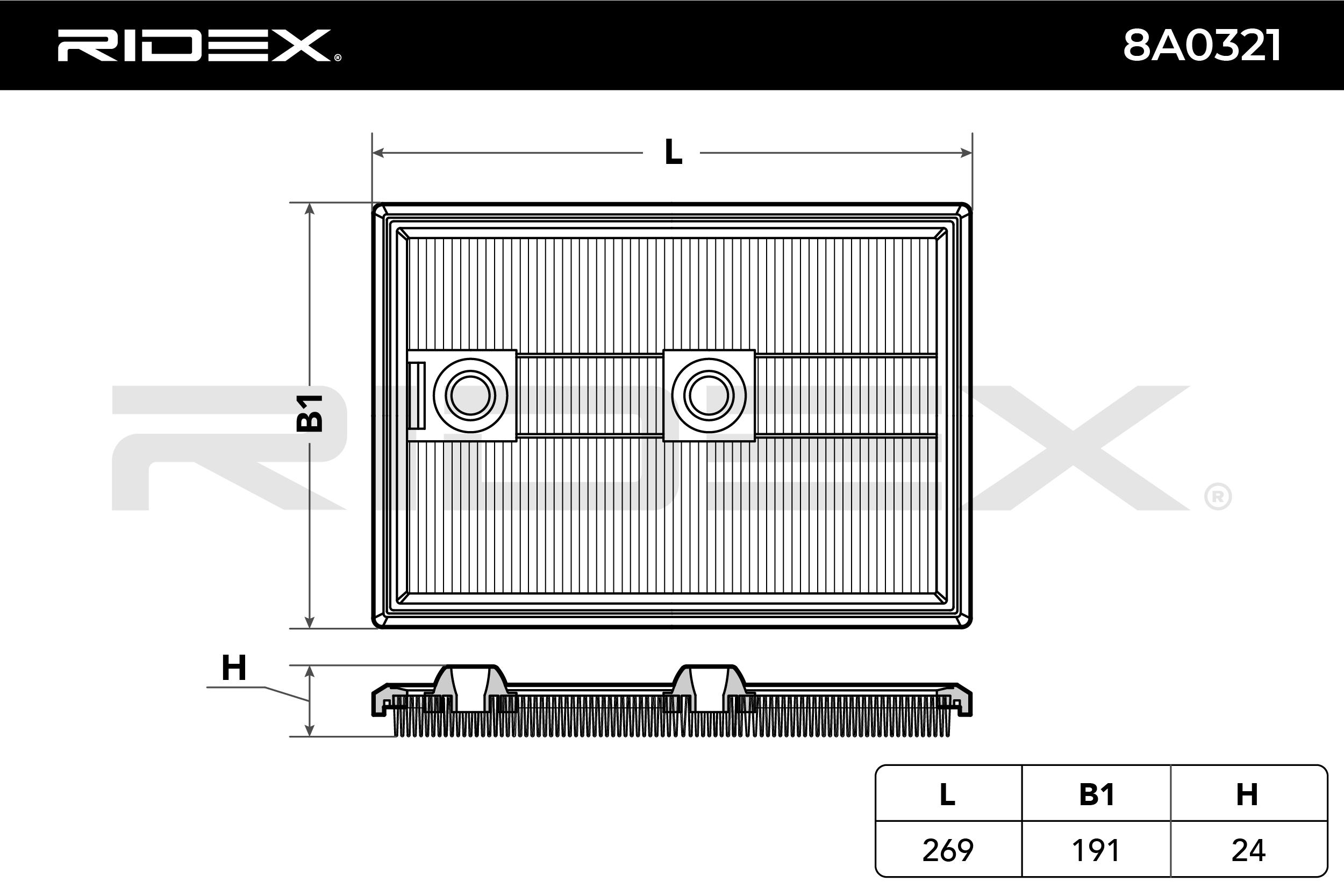 Air Filter RIDEX 8A0321 4059191167470