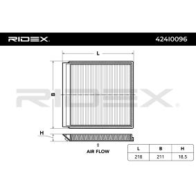 Filter, Innenraumluft Länge: 218mm, Breite: 211mm, Höhe: 18,5mm mit OEM-Nummer 949228
