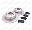 STARK Bremsscheiben und Beläge HYUNDAI Hinterachse, Voll, mit akustischer Verschleißwarnung, mit Anti-Quietsch-Blech