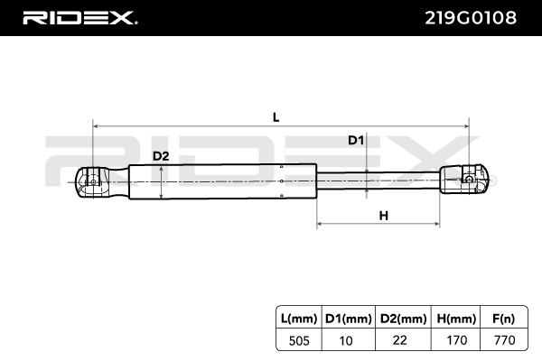 Gasdruckfeder RIDEX 219G0108 Bewertung