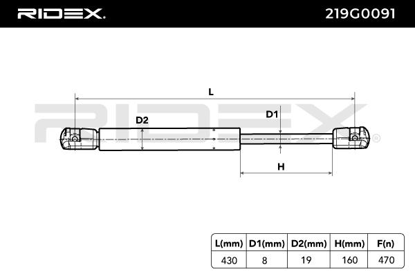Gasdruckfeder RIDEX 219G0091 Bewertung