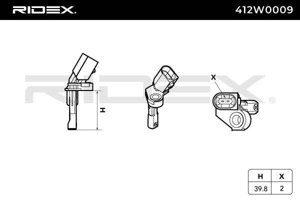 Raddrehzahlsensor RIDEX 412W0009 4059191194087