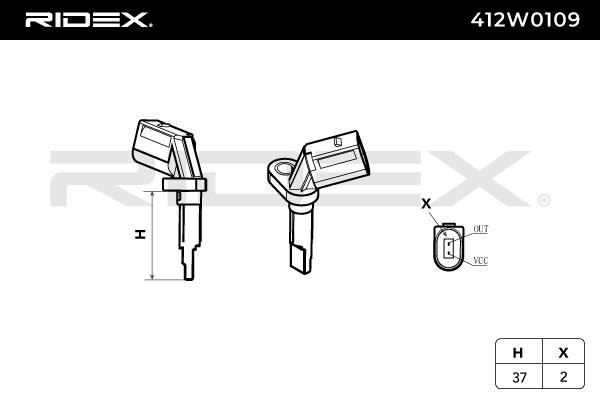 Sensor, wheel speed RIDEX 412W0109 4059191195404