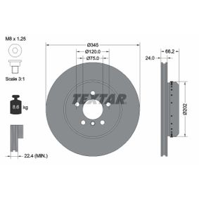 Brake Disc Brake Disc Thickness: 24mm, Ø: 345mm with OEM Number 34 206 797 607