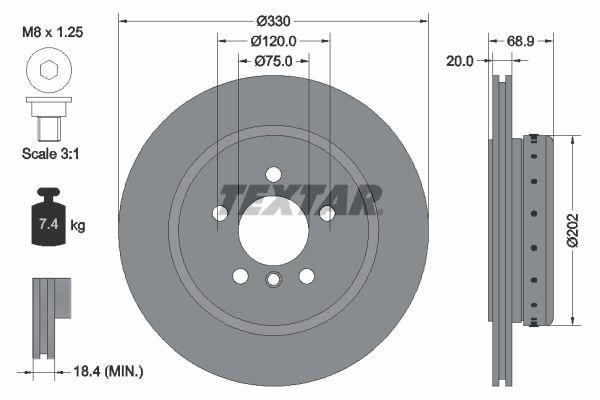 TEXTAR PRO+ 92265925 Bremsscheibe Bremsscheibendicke: 20mm, Ø: 330mm