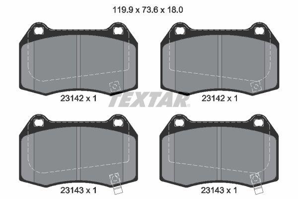 TEXTAR  2314204 Bremsbelagsatz, Scheibenbremse Breite: 119,9mm, Höhe: 73,6mm, Dicke/Stärke: 18mm