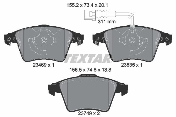 TEXTAR  2346901 Brake Pad Set, disc brake Width 1: 155,2mm, Width 2 [mm]: 156,5mm, Height 1: 73,4mm, Height 2: 74,8mm, Thickness 1: 20,1mm, Thickness 2: 18,8mm