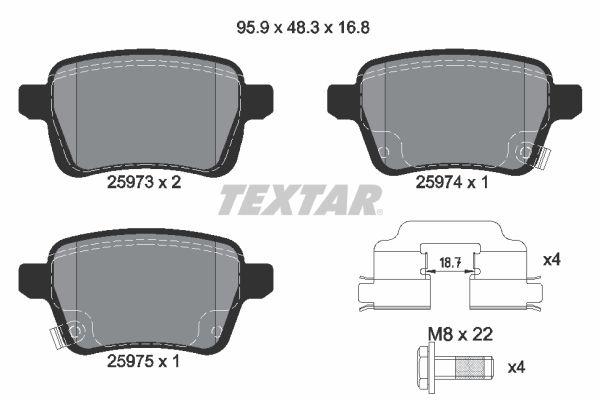 TEXTAR  2597301 Bremsbelagsatz, Scheibenbremse Breite: 95,9mm, Höhe: 48,3mm, Dicke/Stärke: 16,8mm