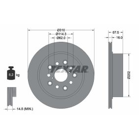 Bremsscheibe Bremsscheibendicke: 16mm, Ø: 310mm mit OEM-Nummer 42431 50080