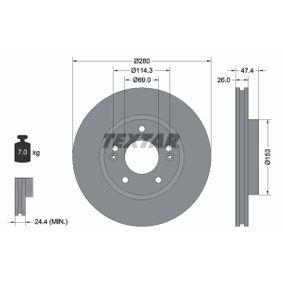 Brake Disc Brake Disc Thickness: 26mm, Ø: 280mm with OEM Number 517 123 K010