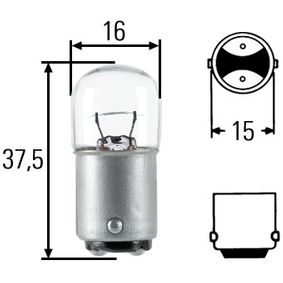 Bulb, licence plate light R5W, BA15D, 12V, 5W 8GA 002 071-371
