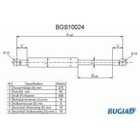 BUGIAD Gasfeder, Koffer-/Laderaum BGS10024 für AUDI 90 (89, 89Q, 8A, B3) 2.2 E quattro ab Baujahr 04.1987, 136 PS